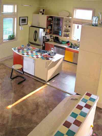 Aragon:-649-Aragon-Street_23.jpg:  kitchen, counter, cabinets, ceramic tile, painted floor, transom, window