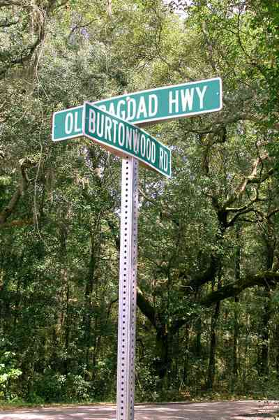 Bagdad:-Cemetery_01.jpg:  road sign, oak tree, spanish moss, country road, two-lane road, canopy of trees, dense forest