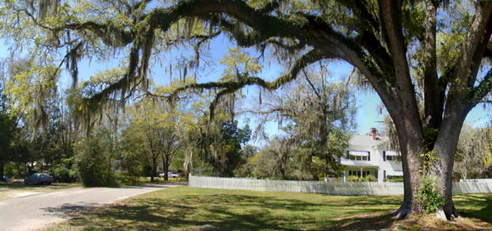 Bagdad:-Creary-Crawford-Walsh-House_04.jpg:  victorian house, white picket fence, oak tree, spanish moss, awnings, tree fern