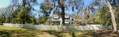Bagdad:-Creary-Crawford-Walsh-House_06.jpg:  oak tree, spanish moss, victorian house, picket fence, bagdad, milton, blackwater river
