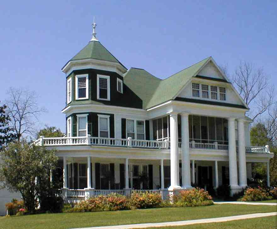 Brewton:-Belleville-Avenue_01.jpg:  victorian mansion, greek revivial architectural style, green roof, turret,