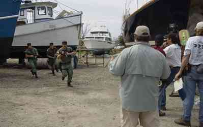 Brown+Marine-Prison+Break_01.jpg:  filming, tv show, tugboat, yacht, marina,