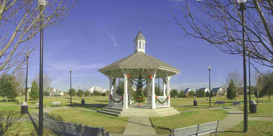 Cantonment:-Milestone_02.jpg:  gazebo, park bench, historic lighting, christmas tree