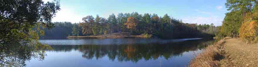 Century:-Bluff-Springs-Campground_01.jpg:  lake, pond, hill, pine tree, levee, road