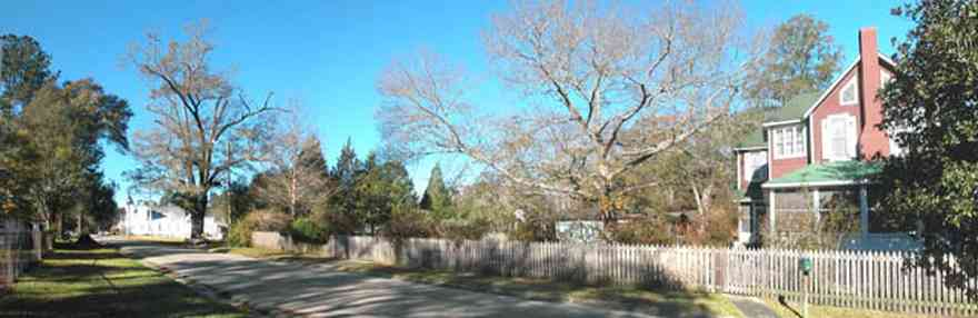 Century:-Historic-District:-Church-And-Jefferson-Streets_01.jpg:  picket fence, magnolica tree, church, pecan tree, small town