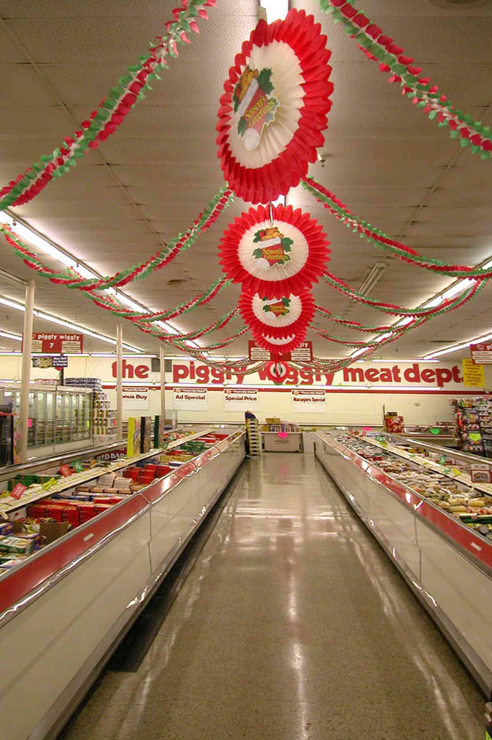 Century:-Piggly-Wiggly-Supermarket_04.jpg:  aisle, grocery store, freezer storage, display case, fluorscent lights