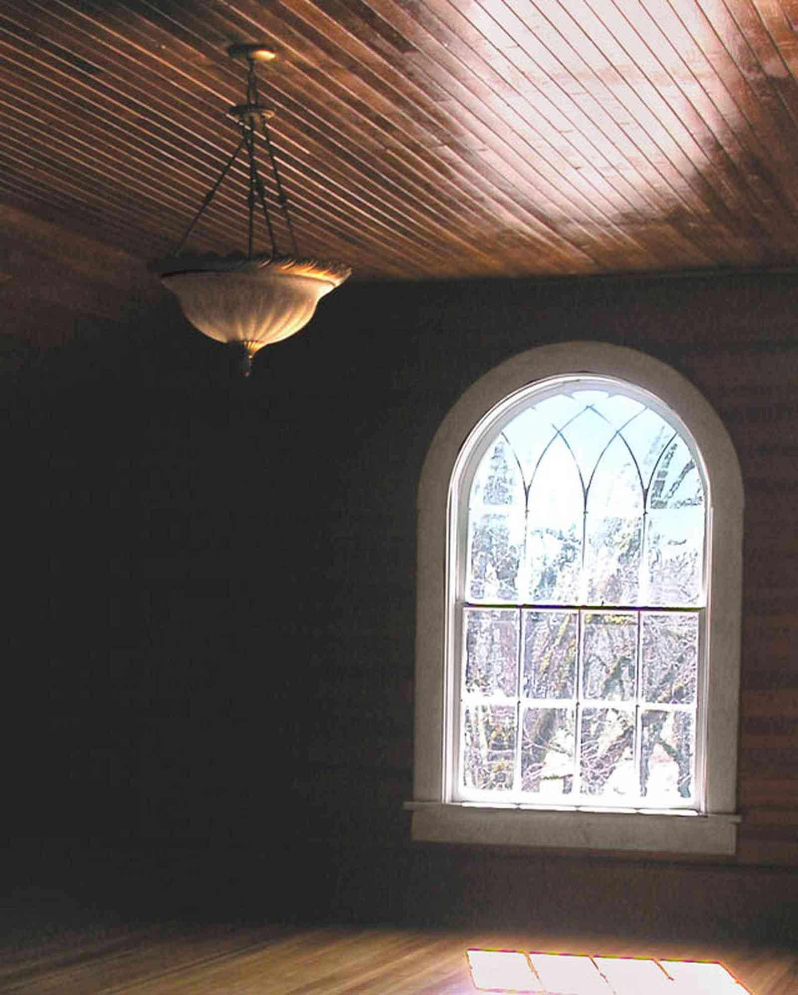 Century:-Tannenheim_01v.jpg:  leaded glass window, ballroom, wood floor, wood walls, wooden ceiling, heart pine lumber