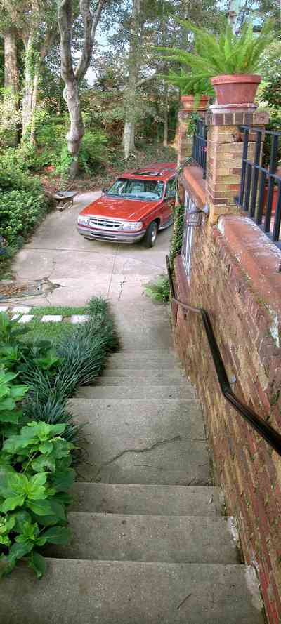 East-Hill:-1801-East-La-Rua-Street_06b.jpg:  stairs, ivy, patio, stepping stones, suv vehicle, driveway, garden, backyard
