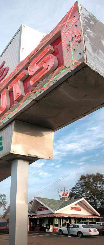 East-Hill:-Krispy-Kreme-Donut-Shop_01.jpg:  donuts, hot donuts, donut shop, 1950's design, neon sign, stainless steel sign, striped awning