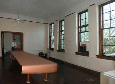 East-Hill:-Tower-East:-Old-Sacred-Heart-Hospital_41.jpg:  classroom, gothic revival architecture, ceiling fam, table, tom roush