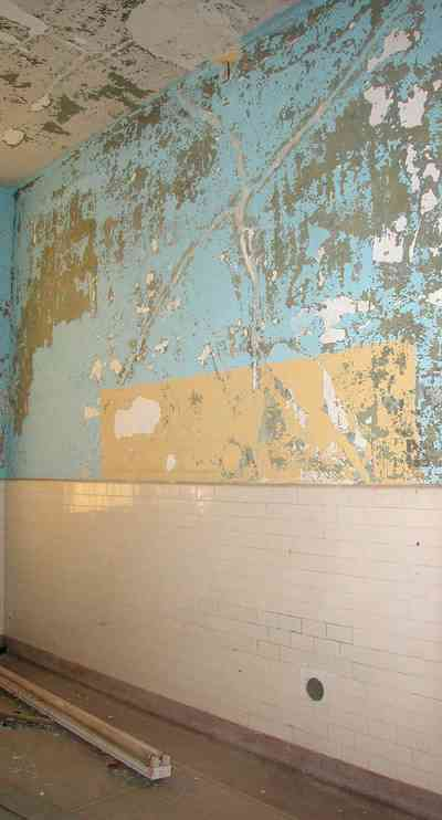 East-Hill:-Tower-East:-Old-Sacred-Heart-Hospital_47.jpg:  tiled walls, operating room, plaster walls, gothic revival architecture