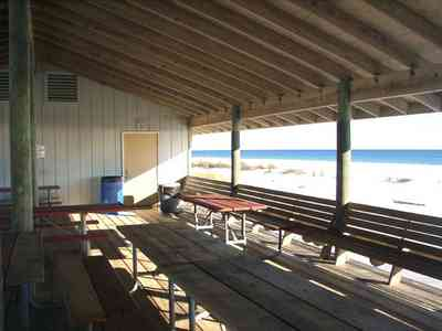 Gulf-Islands-National-Seashore:-Langdon-Beach_04a.jpg:  picnic shelter, boardwalk, gulf of mexico, picnic , gulf coasttable