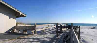 Gulf-Islands-National-Seashore:-Langdon-Beach_05.jpg:  walkover, deck, walkway, path, bench, dunes, gulf of mexico, railings pier, sand, sea oats