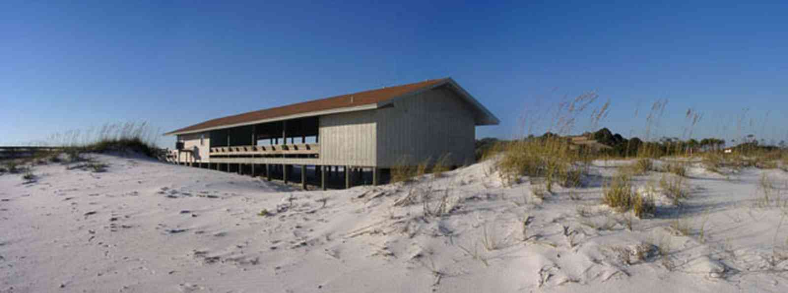 Gulf-Islands-National-Seashore:-Langdon-Beach_10.jpg:  picnic area, walkover, boardwalk, battery langdon, dune, sea oats