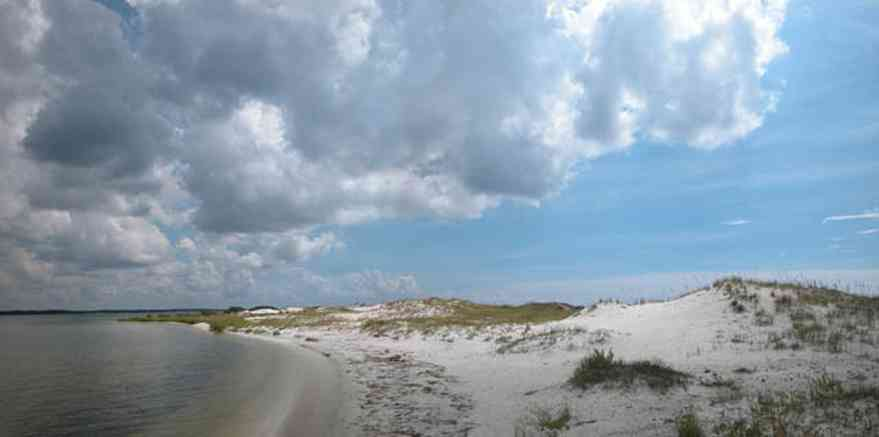 Gulf-Islands-National-Seashore:-Perdido-Key:-Boardwalk-I_01.jpg:  sand dunes, sound, beach, cumulus clouds, sea oats, barrier island