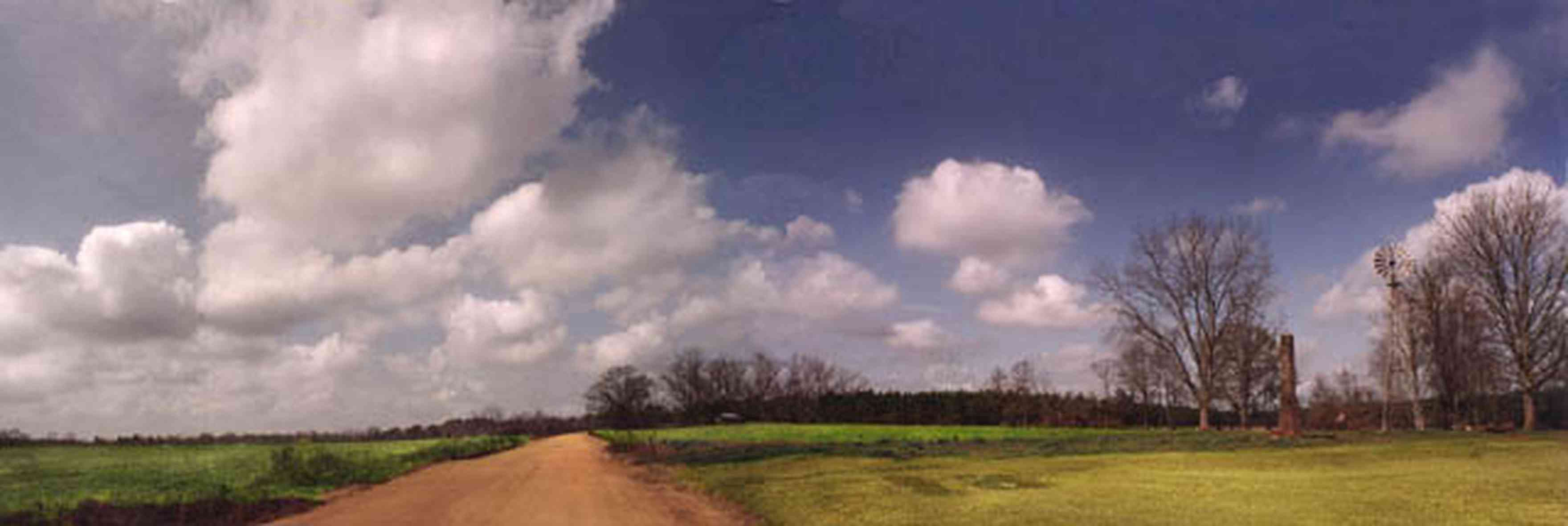 McDavid:-Abandoned-Farm_01.jpg:  country road, dirt road, red clay road, windmill, chimney, cumulus clouds, fields, farmer