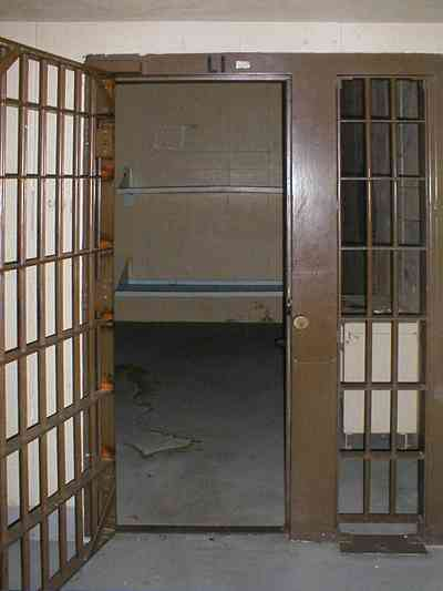 Milton:-Courthouse-Old-Jail_02.jpg:  cell door, prisoner, cell block, bars, lockup, inmate, county lockup