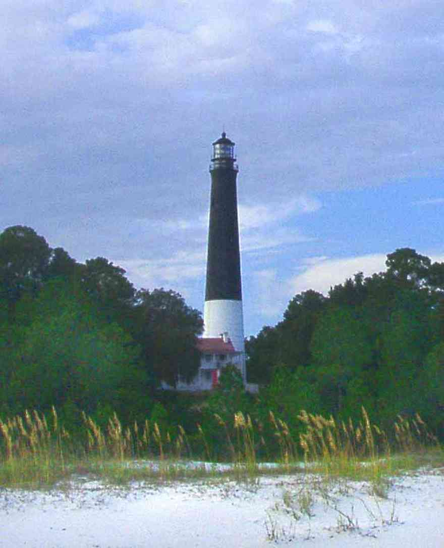 Naval-Air-Station:-Lighthouse_02.jpg:  lighthouse, beach, sea oats, pine trees