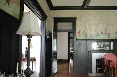 North-Hill:-116-DeSoto-St_02p.jpg:  dining room, heartpine floors, wainscotting, transoms, pocket doors, coffered ceilings