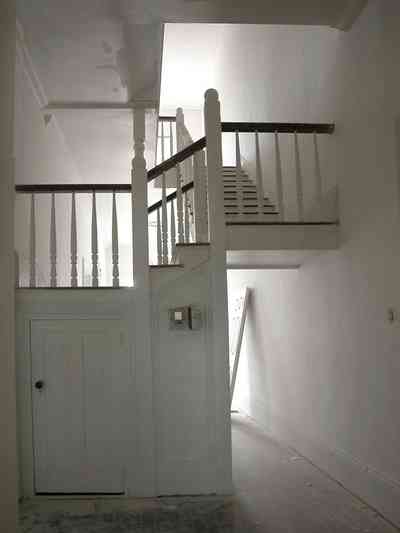 North-Hill:-200-West-Jackson-Street_19.jpg:  staircase, central hall, heartpine floor, first floor, victorian house