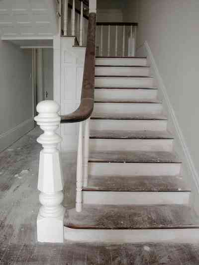 North-Hill:-200-West-Jackson-Street_22.jpg:  staircase, front hall, bannister, newel post, heart pine floor, victorian house