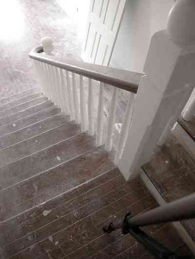North-Hill:-200-West-Jackson-Street_23.jpg:  staircase, landing, steps, bannisters, newel post, central hall, victorian house