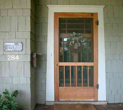 North-Hill:-284-West-Gonzales-Street_14.jpg:  screen door, front door, shake siding, craftsman cottage