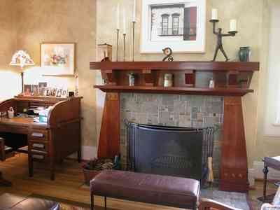 North-Hill:-284-West-Gonzales-Street_15.jpg:  heartpine floors, stone mantle, craftsman cottage, roll-top desk