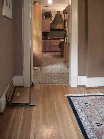 North-Hill:-284-West-Gonzales-Street_20.jpg:  heartpine floors, kitchen, tile floors, oriental rug, dining room, craftsman cottage
