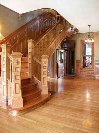 North-Hill:-304-West-Gadsden-Street_12.jpg:  central hall, staircase, wainscotting, heartpine floors, north hill preservation district