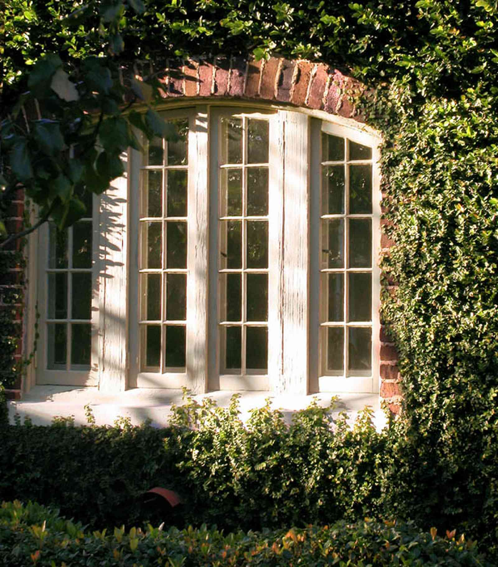 North-Hill:-406-Lloyd-Street_02.jpg:  casement window, ivy-covered walls, windowpane, castle, gothic revival, tudor architectural style