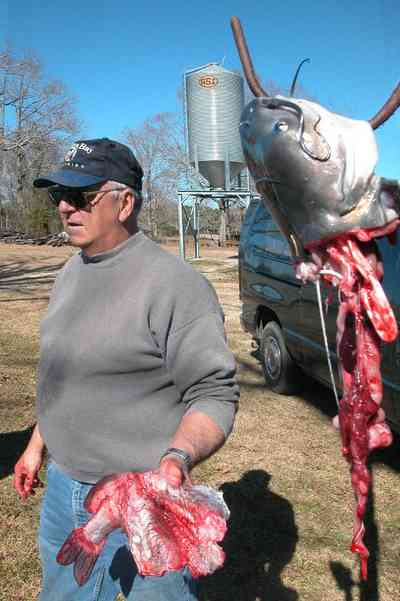 Oak-Grove:-Carpenters-Catfish-Farm_12.jpg:  gaffing hook, entrails, catfish fillet, cleaning catfish, skinning catfish
