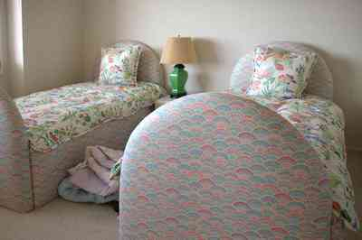Pensacola-Beach:-1212-Ariola-Drive_18.jpg:  children's bedroom, crewel bedspread, 1950's lamp, carpet, pink room, beach house