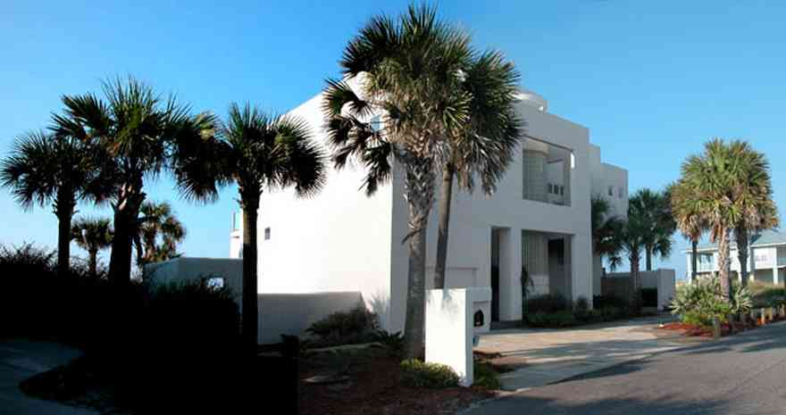 Pensacola-Beach:-Ariola-Drive-Art-Deco-House_15.jpg:  sand, crystal sand, white sand, sugar sand, sea oats, bauhaus architectural style, palm trees, dune restoration, stairs, glass railing, wooden deck, stucco, beachfront property