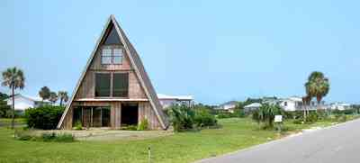 Pensacola-Beach:-Rio-Vista-Drive_05.jpg:  a-frame house, palm trees, beach front house