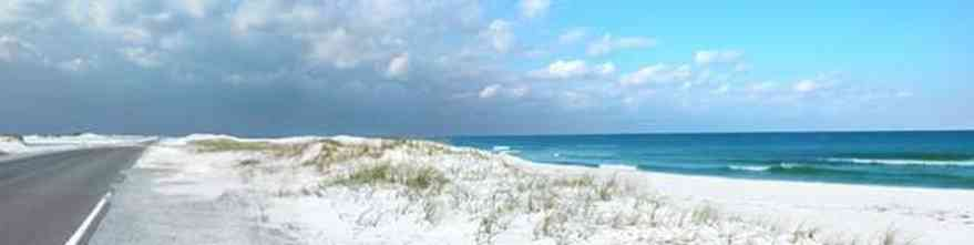 Pensacola-Beach:-Road-Updated_01.jpg:  road, beach, sand, water, gulf, seashore, park, white sand, sea oats
