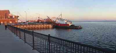 Pensacola:-Downtown:-Palafox-Pier_03.jpg:  pier, walkway, tugboat, dock
