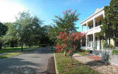 Pensacola:-Historic-Pensacola-Village:-Dorr-House_13.jpg:  town square, park, oak tree, crepe myrtle tree, magnolia tree, folk victorian, picket fence