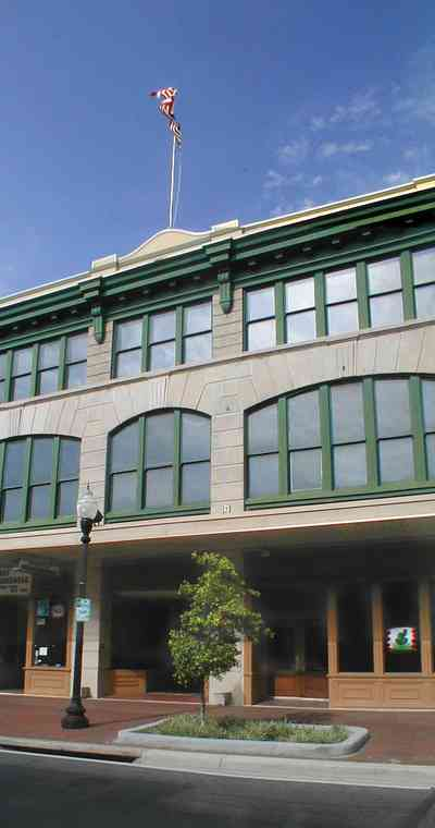 Pensacola:-Palafox-Historic-District:-Blount-Building_02a.jpg:  downtown, masonic temple, architectural style, garden street, urban renewal, palafox street, chicago school of architecture, commercial building, skyscraper, historic district
