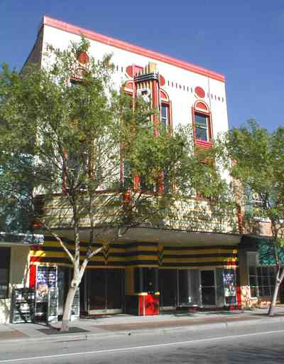Pensacola:-Palafox-Historic-District:-Rex-Theatre_00.jpg:  1930's movie theatre, art deco facade, street front, stainless steel, palafox street, movie theatre, marque