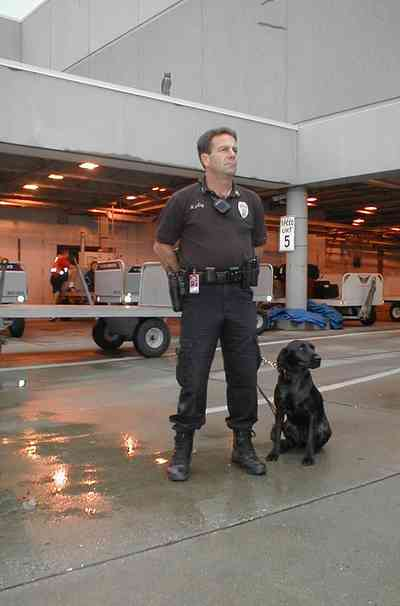 Pensacola:-Regional-Airport_10.jpg:  labrador retriver, police officer, luggage carriers, airport, airport security