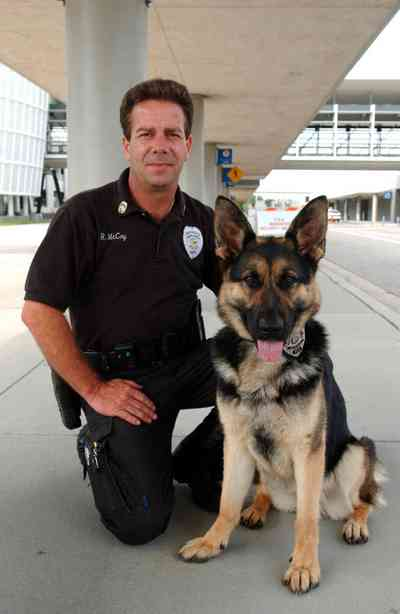 Pensacola:-Regional-Airport_10a.jpg:  explosive ordinance detection dog, police officer, airport, airport security, german shepard, police dog