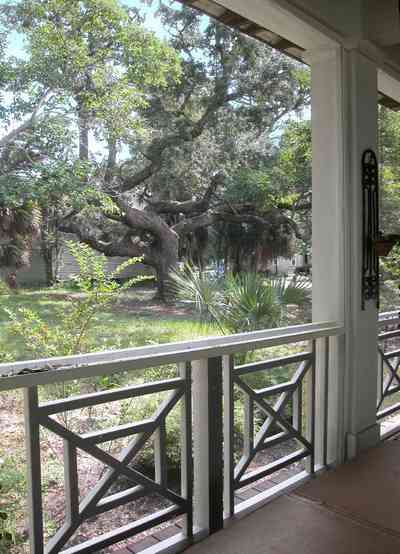 Pensacola:-Seville-Historic-District:-202-Cevallos-Street_26.jpg:  palmetto, palm, oak tree, screened porch, deck, patio, victorian cottage