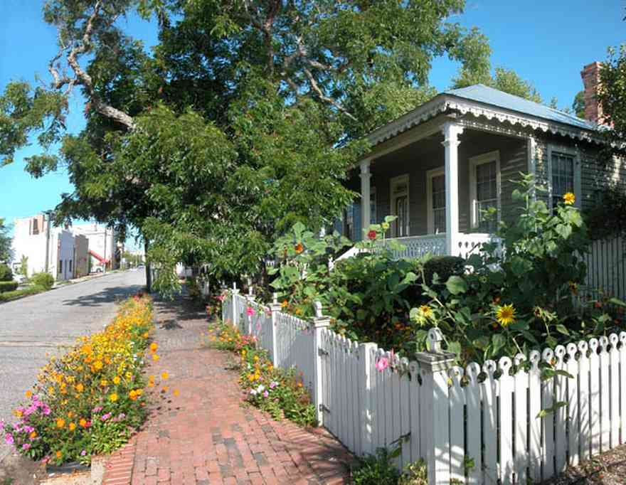 Pensacola:-Seville-Historic-District:-226-East-Intendencia-Street_01.jpg:  picket fence, sunflowers, gingerbread trim, tin roof, galvanized tin roof, pecan tree, brick sidewalk, daisies, front porch, ,