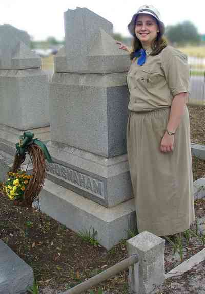 Pensacola:-Seville-Historic-District:-St-Michael-Cemetery_29.jpg:  tomb, cemetery, monument, girl scout, floral wreath, historic district