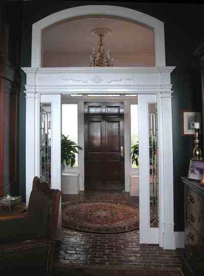 Sanders-Beach-585-Windrose_09+WEB.jpg:  doorway, chandelier, brick floor, traditional,