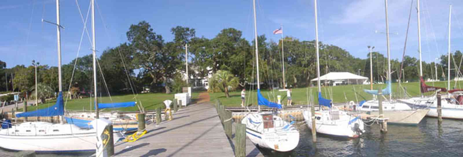 Sanders-Beach:-Pensacola-Yacht-Club_06.jpg:  sail boat, dock, pier, oak tree,