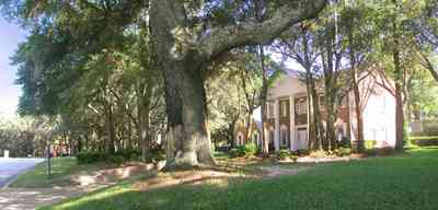 Scenic-Highway:-4450-Devereau-Drive_00.jpg:  colonial architectural style, white columns, shutters, crown molding pediment, circular driveway, carriage lamp, oak trees