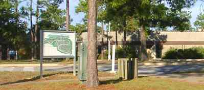 University-Of-West-Florida:-Campus_36.jpg:  university, campus, students, pine trees, kiosk, campus map