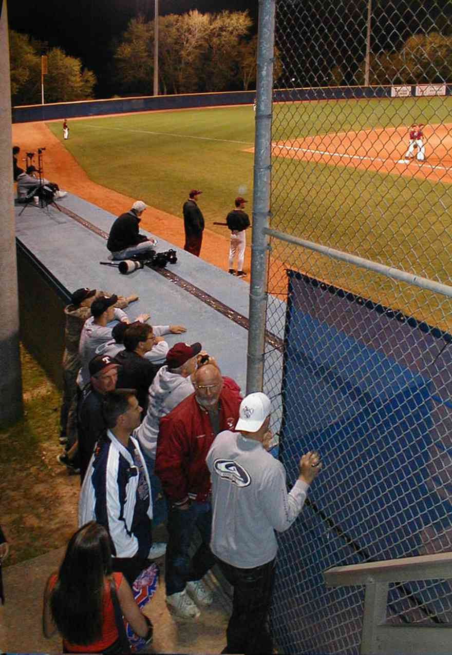 University-of-West-Florida:-Ballfield_14.jpg:  ballfield, college campus, home team, marcus swanson, dugout, bat, ball, spectators